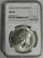 1976-S UNCIRCULATED 40 SILVER EISENHOWER DOLLAR NGC MINT STATE 66   63-072