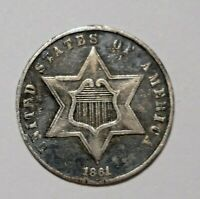 1861 U.S. 3 CENT  THREE CENT SILVER TRIME COIN