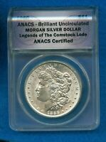 1886 MORGAN SILVER DOLLAR LEGENDS OF THE COMSTOCK LODE ANACS CERTIFIED BU
