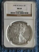 2008 W  SILVER AMERICAN EAGLE   NGC MS69