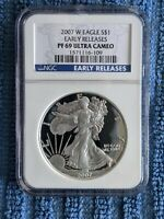 2007 W PROOF AMERICAN SILVER EAGLE NGC PF69 ULTRA CAMEO EARLY RELEASE