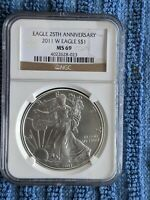 2011 W SILVER EAGLE 25TH ANNIVERSARY NGC MS69