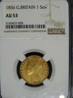 1856 GREAT BRITAIN QUEEN VICTORIA GOLD SOVEREIGN NGC AU53
