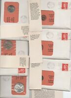 1966 AUSTRALIA COIN COVERS PNC FDC 99 COMPANY FDI NICE SET OF 6 WITH CARDS