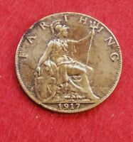 1917 GREAT BRITAIN FARTHING KING GEORGE V BRONZE COIN ANTIQU