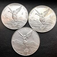 LOT OF 3 2014 MEXICAN LIBERTAD 1 OZ .999 FINE SILVER COIN UN