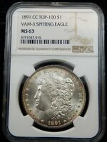 1891 CC SPITTING EAGLE  VAM - 3 MORGAN SILVER DOLLAR - NGC CERTIFIED MINT STATE 63