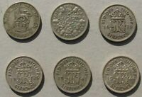 EARLY GREAT BRITAIN SIX PENCE SILVER COINS 6 PIECE LOT