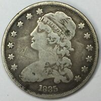 1835 25C CAPPED BUST QUARTER VG  UNCERTIFIED