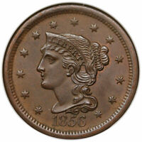 1856 BRAIDED HAIR LARGE CENT SLANTED 5 NGC MINT STATE 65BN CAC FATTY GREAT TYPE COIN