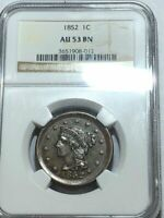 1852 BRAIDED HAIR US LARGE CENT. NGC AU53 BN ONG012