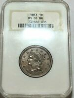 1851 BRAIDED HAIR US LARGE CENT. NGC MINT STATE 65 BN Q008 OLD FAT HOLDER