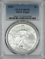 2003 AMERICAN SILVER EAGLE PCGS MS70 - NO SPOTS OR PROBLEMS - SILKY WHITE
