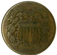 1864-P 2C COPPER TWO CENT PIECE  LG MOTO 19CCT0713-150 CENTS SHIPPING