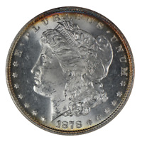 1878 MORGAN DOLLAR, 7/8 TAIL FEATHER, VAM-33W, ANACS MINT STATE 64