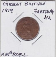 GREAT BRITIAN 1919 FARTHING ALMOST UNCIRCULATED KM808.2