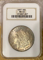 1897 MORGAN SILVER DOLLAR MINT STATE 64 OLD FATTY NGC HOLDER BETTER DATE TONER