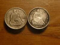 1866 S & 1868 S SEATED LIBERTY HALF DIME RE ENGRAVED OBVERSE