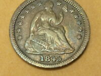 1845 SEATED LIBERTY HALF DIME  REPUNCHED DATE FS-302    LOVELY TONED