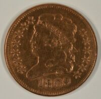 1809 CLASSIC HEAD HALF CENT 1/2C EF XF DETAILS CLEANED