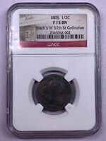 1805 NGC F15 BN DRAPED BUST HALF CENT NO STEMS STACKS W 57TH COLLECTION