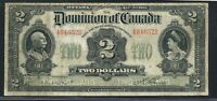1914 $2 DOMINION OF CANADA. 494652B. DC 22A. NO SEAL. CURVED