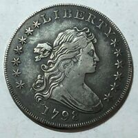 1798 BUST US SILVER DOLLAR. SOLID VF-EXTRA FINE , MILD GLOSS FROM LIGHT OLD CLEANING OMR