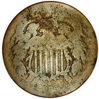 1865-P 2C COPPER TWO CENT PIECE 20LCT0119 50 CENTS SHIPPING