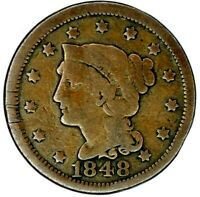 1848-P 1C BRAIDED HAIR LARGE CENT 20HCL0119 50 CENTS SHIPPING