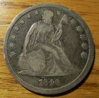 1846 SEATED LIBERTY SILVER DOLLAR PARTIAL LIBERTY  ONLY 110,600 MINTED