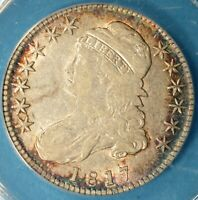 1817 CAPPED BUST HALF DOLLAR ANACS VF35- LY TONED, EARLY DATE, SHARP, COLORS