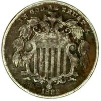 1882-P 5C SHIELD NICKEL 20WOW0118 50 CENTS SHIPPING