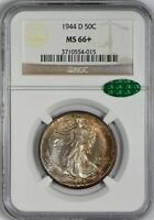 1944 D WALKING LIBERTY HALF DOLLAR NGC MINT STATE 66  CAC APPROVED  TONING