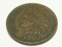 1901 INDIAN HEAD CENT EXTRA FINE