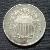 1867 SHIELD NICKEL NO RAYS VF  FINE DETAILS 5 CENT US COIN