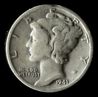 1941-S MERCURY 90 SILVER DIME SHIPS FREE. BUY 5 FOR $2 OFF