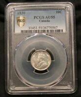 1930 CANADA SILVER 10 CENTS PCGS AU55 GOLD SHIELD CERTIFIED. BV $77