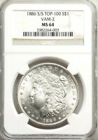1886-S S/S VAM-2 NGC MINT STATE 64 MORGAN SILVER DOLLAR TOP 100 POPULAR  VAM2 VARIETY