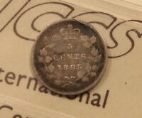 1885 CANADA SILVER 5 CENTS. ICCS F 12. SMALL 5 TYPE.