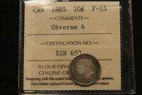 1885 CANADA SILVER 10 CENTS ICCS F 15. BV $300