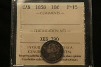 1858 CANADA SILVER 10 CENTS. ICCS F 15. FIRST YEAR OF ISSUE.