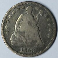 1858 H10C SEATED LIBERTY HALF DIME F UNCERTIFIED