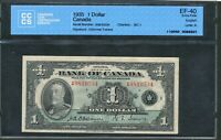 1935 $1 BANK OF CANADA EF 40 CCCS CERTIFIED. BC 1.