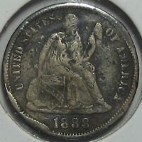 1888-S SEATED LIBERTY SILVER DIME,  FINE  SHIPS FREE