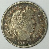 1902-S 10C BARBER DIME EXTRA FINE  UNCERTIFIED