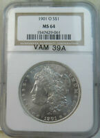1901 O MORGAN DOLLAR NGC MINT STATE 64 VAM 39A CLASHED I&US SUPERCD BR