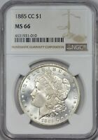 1885 CC MORGAN SILVER DOLLAR NGC MINT STATE 66 - BLAST WHITE LUSTER
