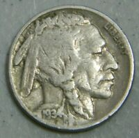 1934 D 5c Indian Head Buffalo Nickel US Coin VF Very Fine