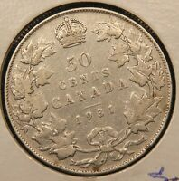 1931 CANADA SILVER 50 CENTS. R DATE COIN.