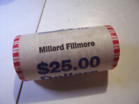 MILLARD FILLMORE  ONE US DOLLAR 25 COIN BANK ROLL HEADS TAILS, T T, H H